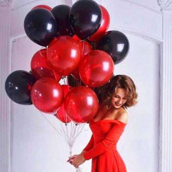 """Воздушные шары """"красно-черное облако"""" 15 шт."""