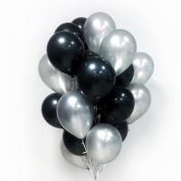 """Воздушные шары """"Черный-серебро"""""""