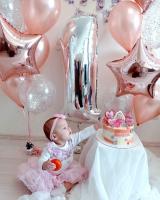"""Воздушные шары """"Мне 1 годик розовое золото"""""""