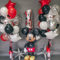 """Воздушные шары """"Микки Маус красно черный"""""""