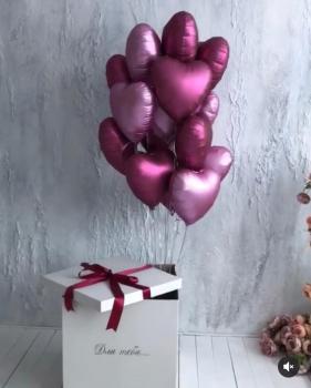 """Воздушные шары """"Коробка-сюрприз с шарами для нее"""""""
