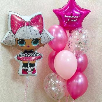 """Воздушные шары """"Кукла Лол розовый"""""""