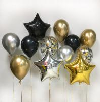 """Воздушные шары """"Чёрное-золото"""""""