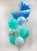 """Воздушные шары """"С рождением сыночка (бирюзовый)"""""""