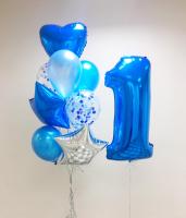 """Воздушные шары """"Первый день рождения (синий)"""""""