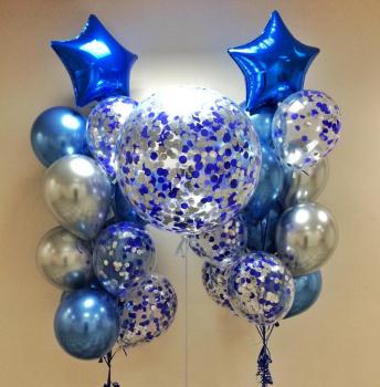 """Воздушные шары """"Синий звездопад"""""""