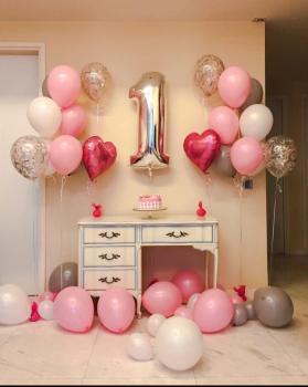 """Воздушные шары """"Нам годик для девочки"""""""